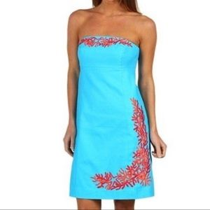 Lilly Pulitzer Bowen Strapless Dress 2 Turquoise